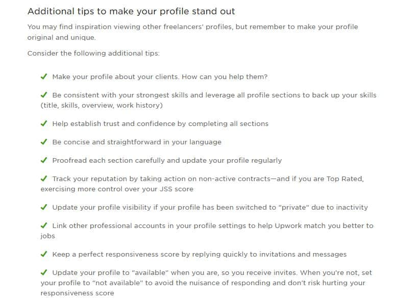 Upwork profile example additional tips from Upwork